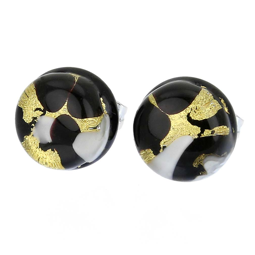 Venetian Reflections Round Stud Earrings - Black Gold