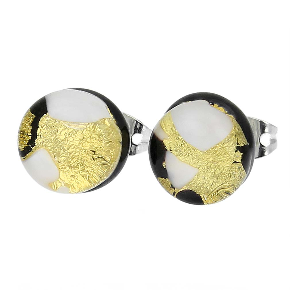 Venetian Reflections Round Stud Earrings - Black Gold
