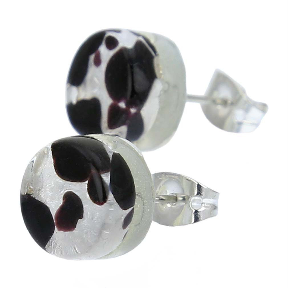 Venetian Reflections Round Stud Earrings - Dark Purple Silver