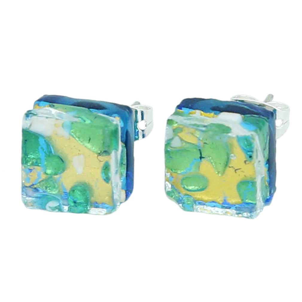 Venetian Reflections Square Stud Earrings - Aqua Gold
