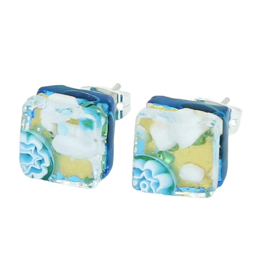 Venetian Reflections Square Stud Earrings - Aqua Gold