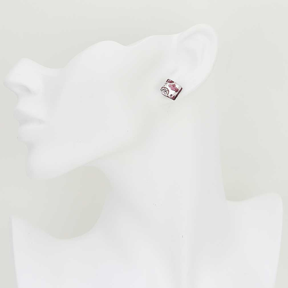 Venetian Reflections Square Stud Earrings - Purple Silver