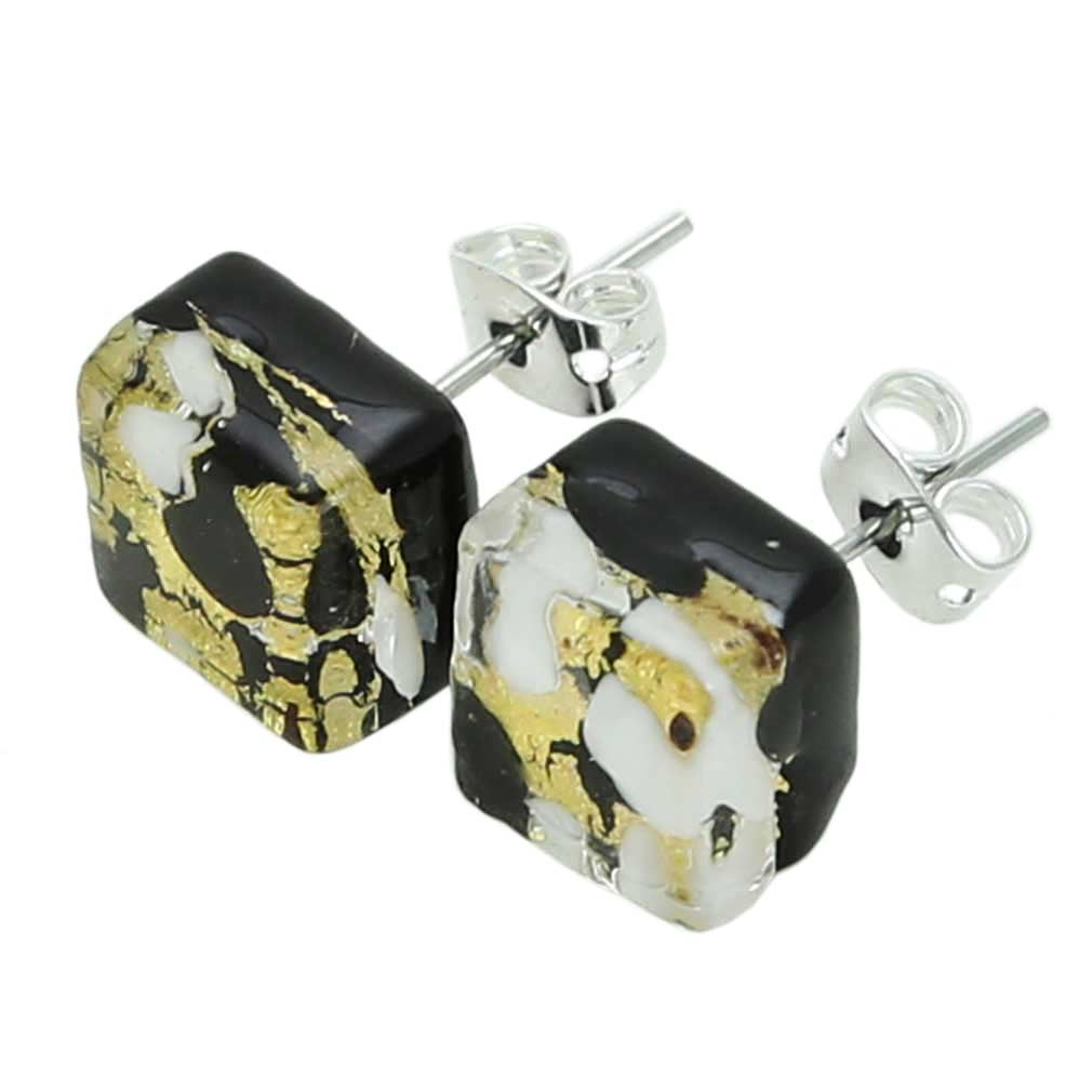 Venetian Reflections Square Stud Earrings - Black Gold