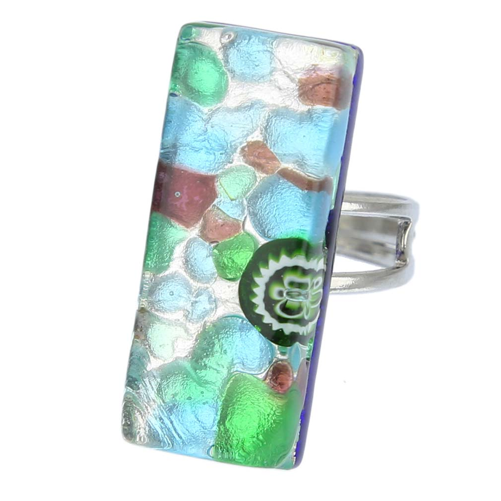 Venetian Reflections Rectangular Ring - Silver Meadow