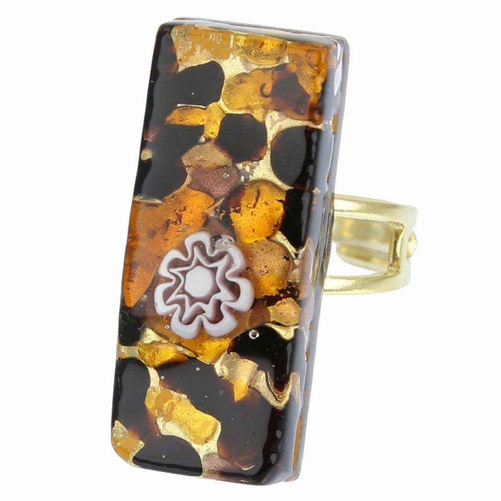 Venetian Reflections Rectangular Ring - Topaz Gold