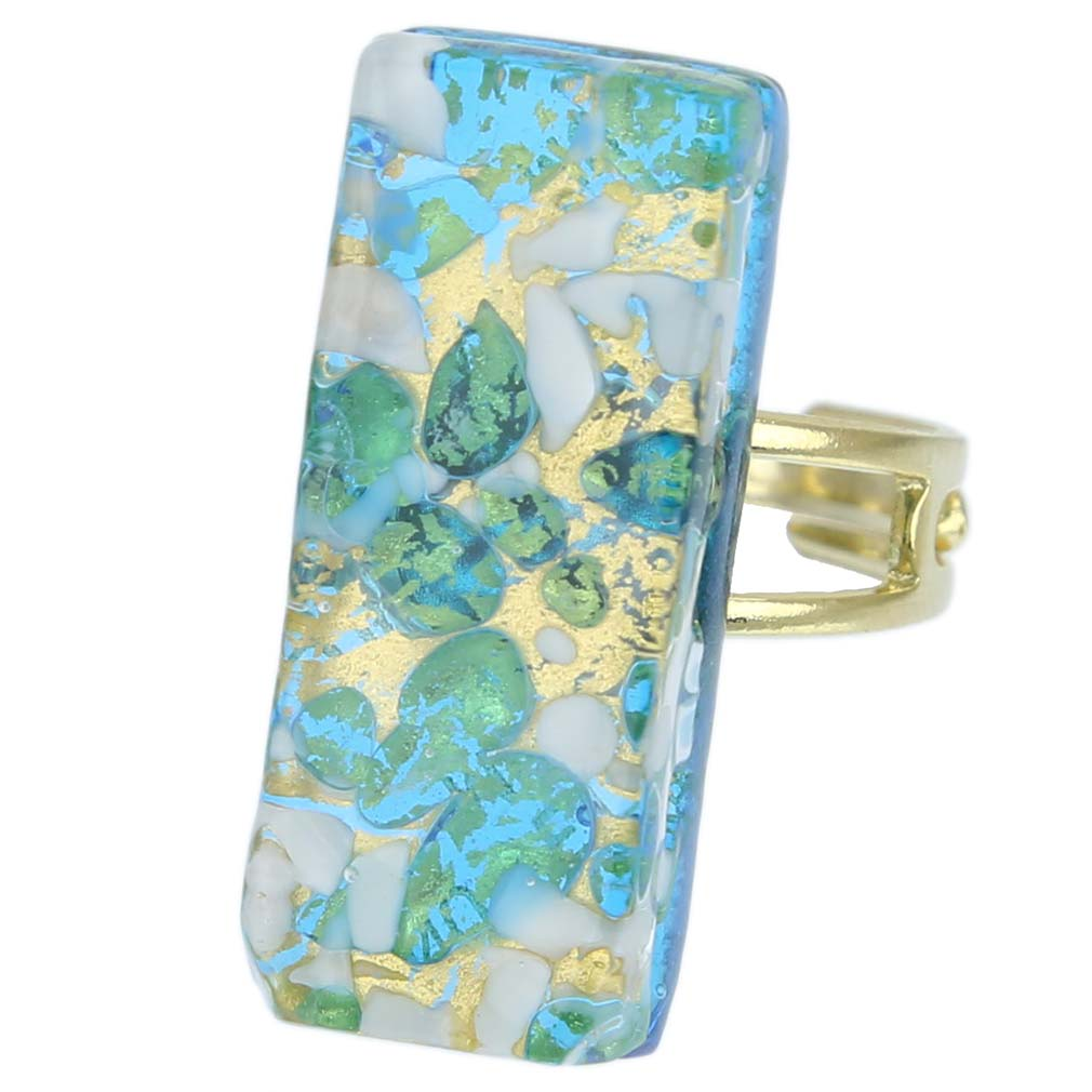 Venetian Reflections Rectangular Ring - Aqua Gold