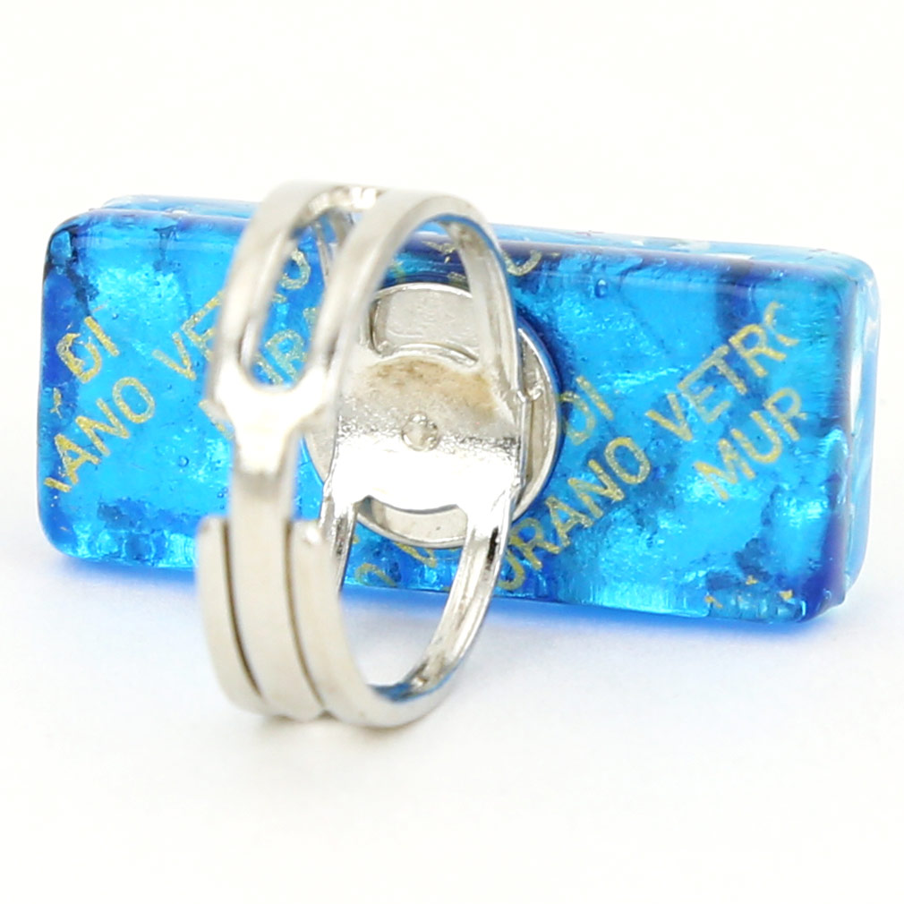 Venetian Reflections Rectangular Ring - Aqua Silver