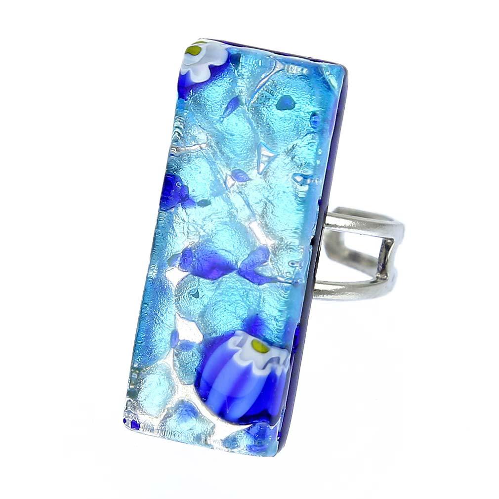 Venetian Reflections Rectangular Ring - Aqua Blue