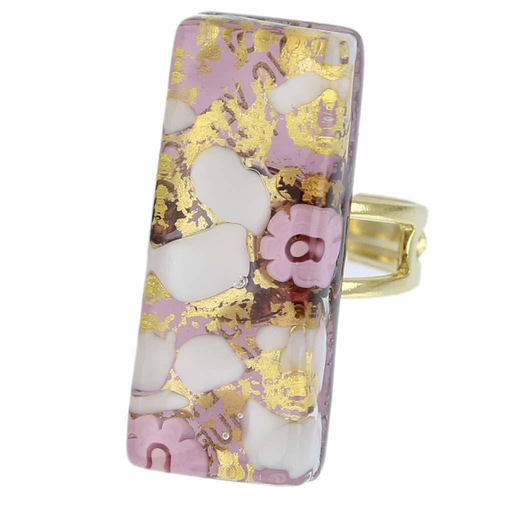 Venetian Reflections Rectangular Ring - Purple Gold