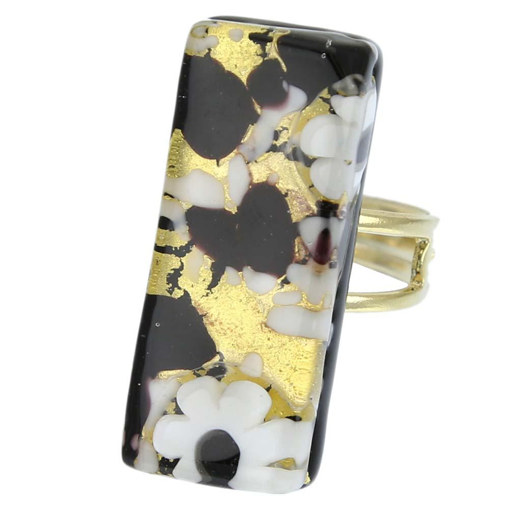 Venetian Reflections Rectangular Ring - Black Gold
