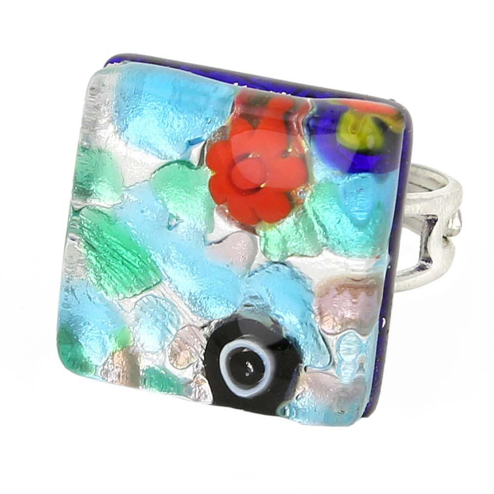 Venetian Reflections Square Adjustable Ring - Silver Meadow