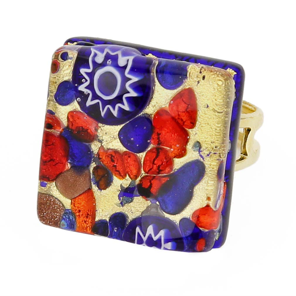 Venetian Reflections Square Adjustable Ring - Blue Red