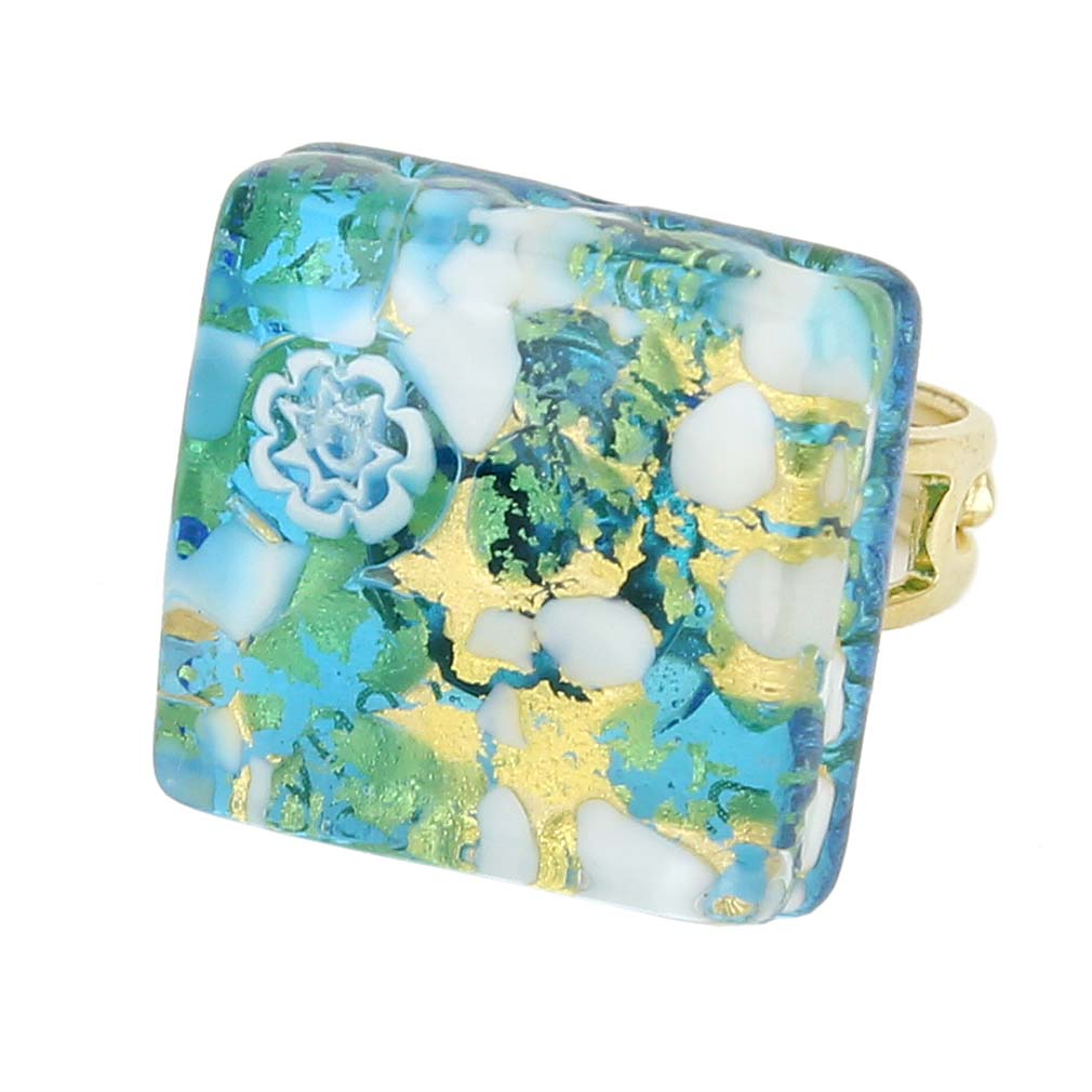 Venetian Reflections Square Adjustable Ring - Aqua Gold