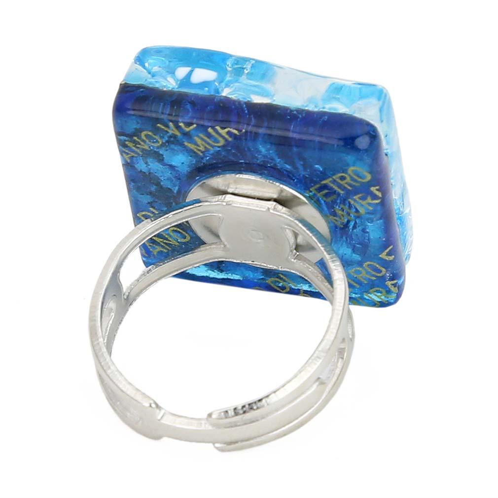 Venetian Reflections Square Adjustable Ring - Aqua Silver