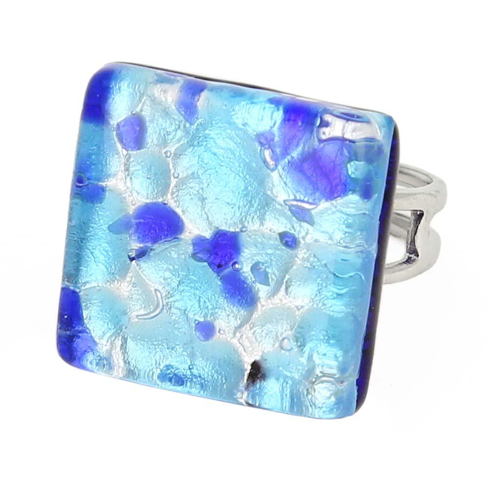 Venetian Reflections Square Adjustable Ring - Aqua Blue
