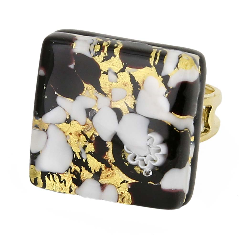 Venetian Reflections Square Adjustable Ring - Black Gold