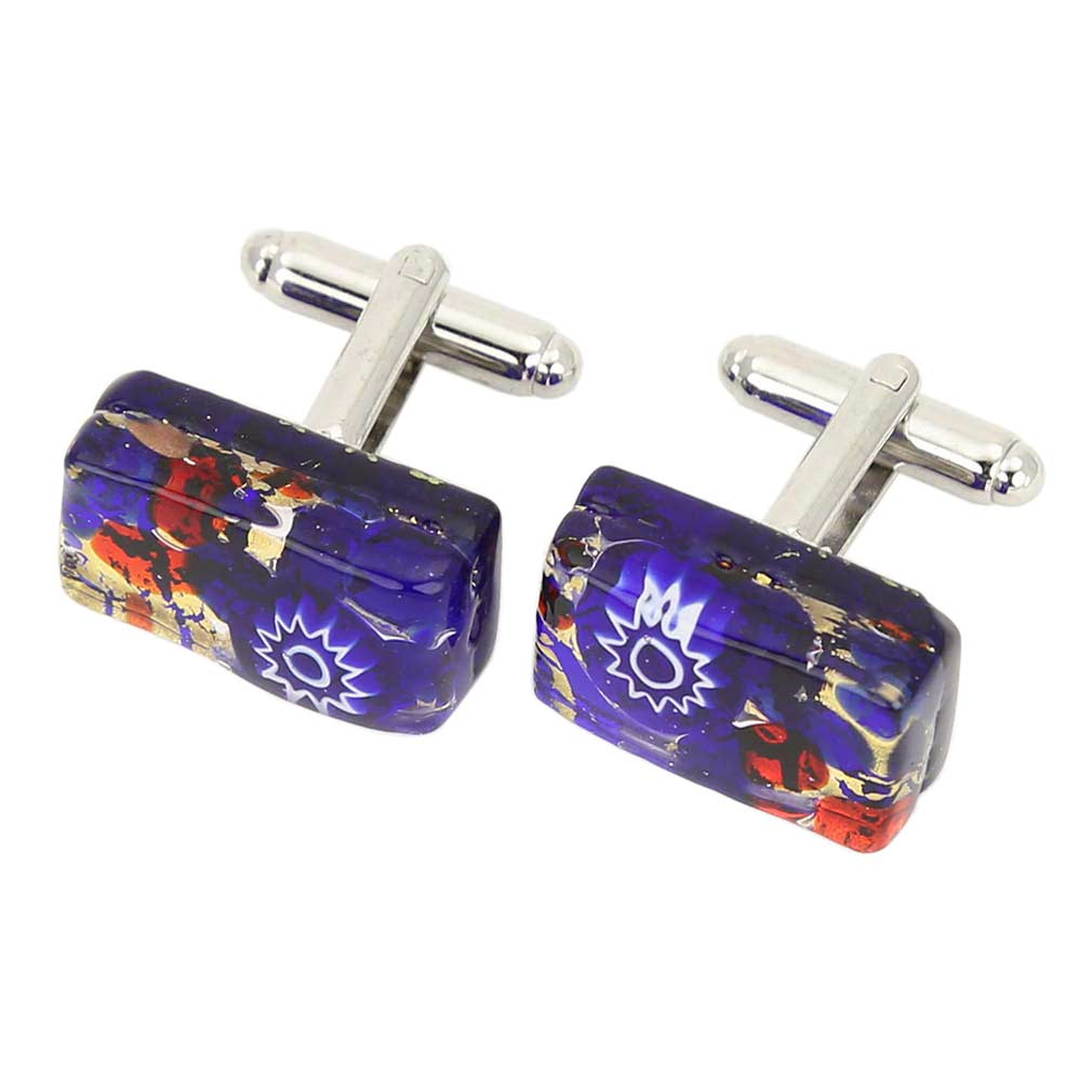 Venetian Classic Rectangular Cufflinks - Blue Red