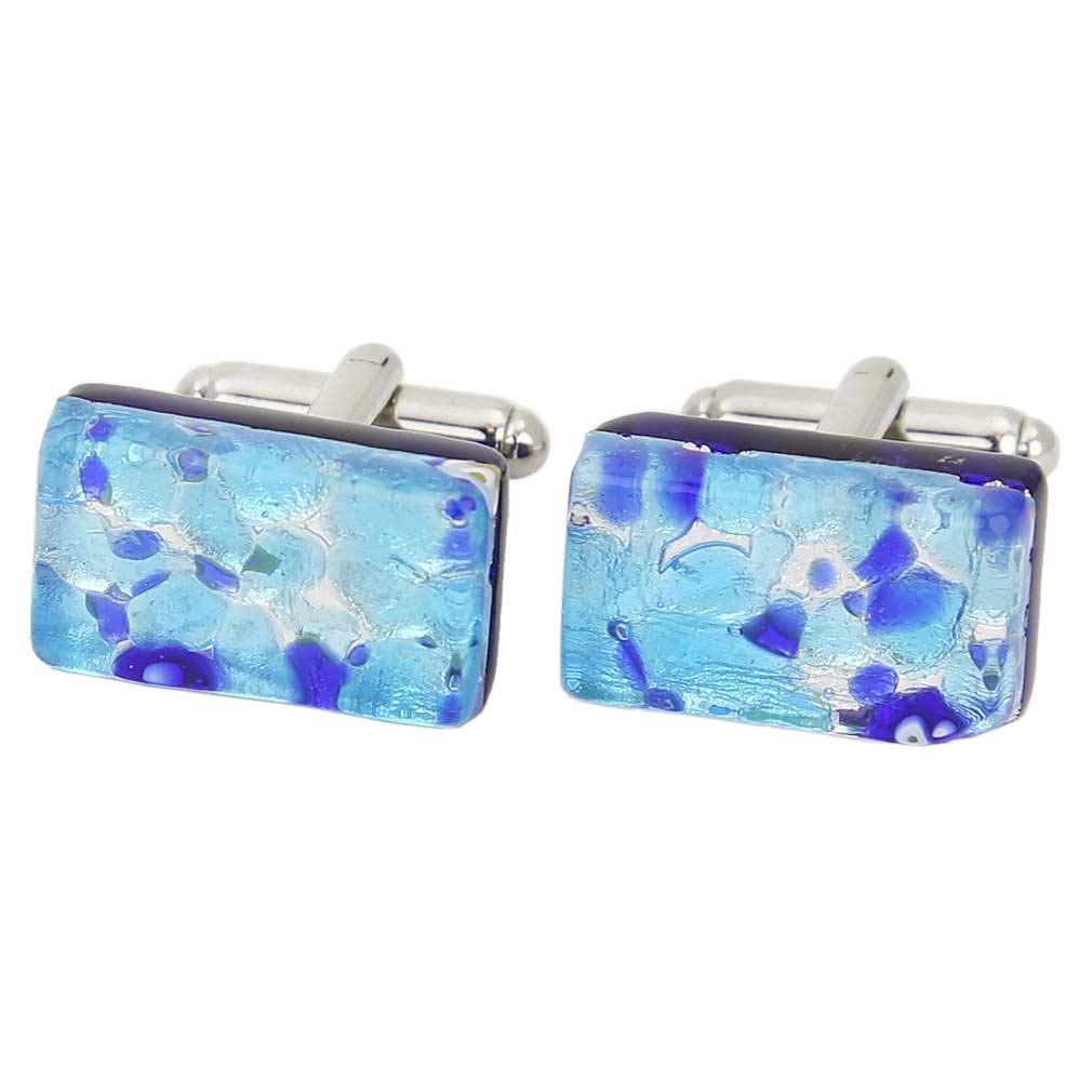 Venetian Classic Rectangular Cufflinks - Aqua Blue