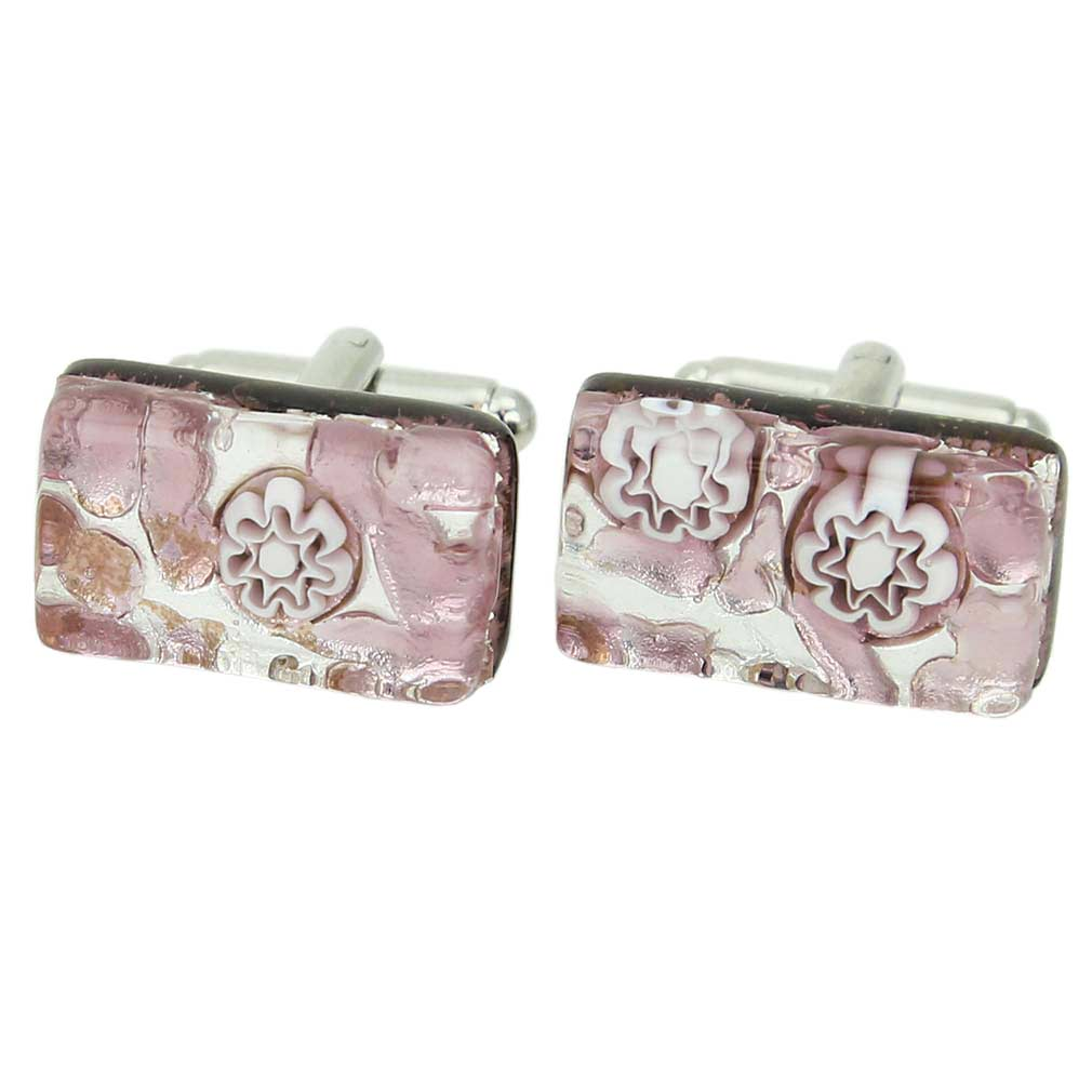 Venetian Classic Rectangular Cufflinks - Purple Silver