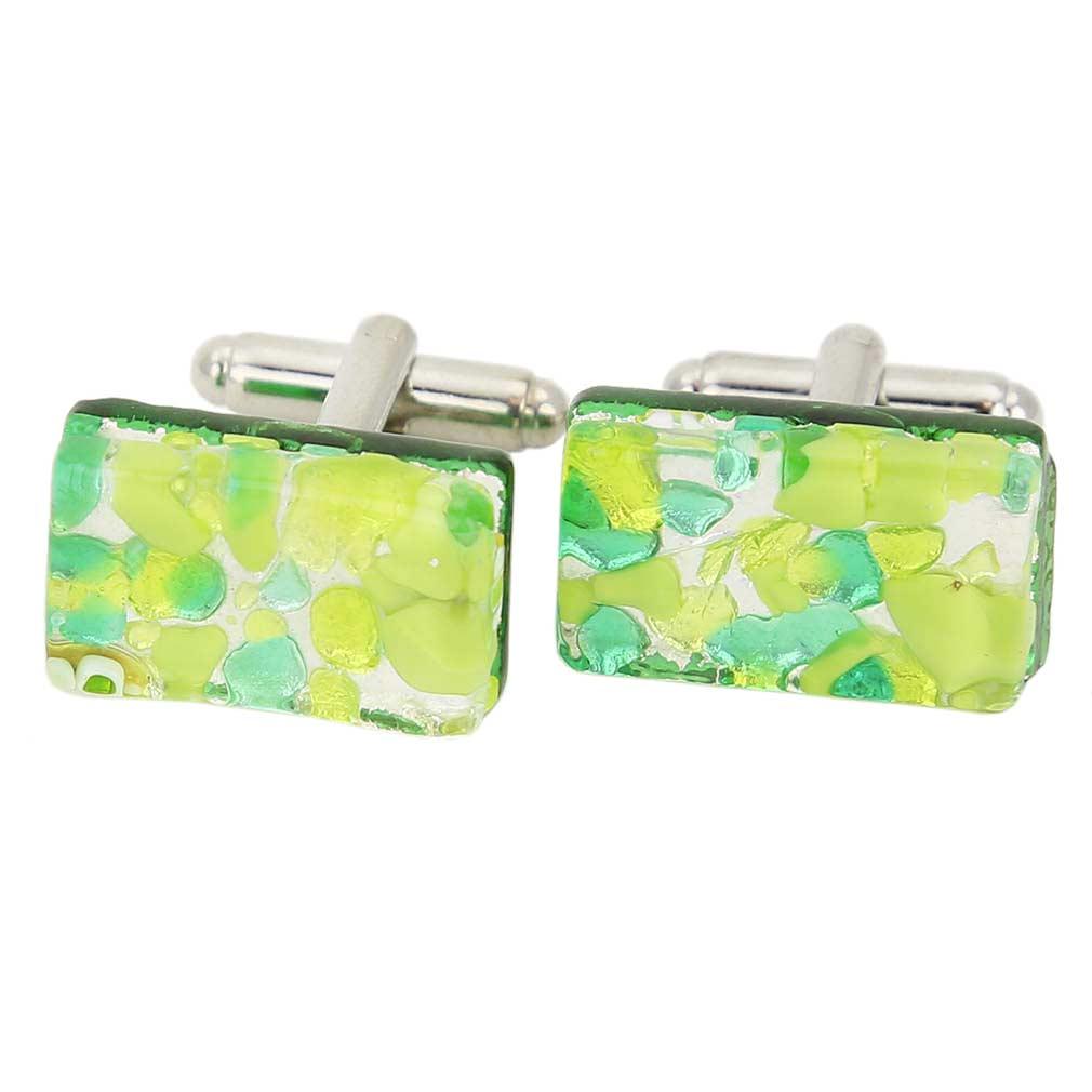 Venetian Classic Rectangular Cufflinks - Green Silver