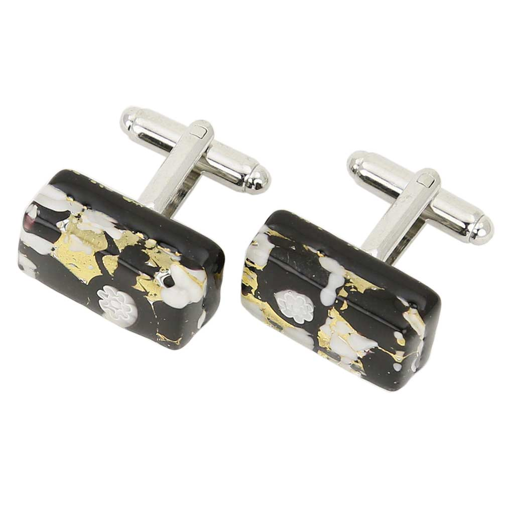Venetian Classic Rectangular Cufflinks - Black Gold