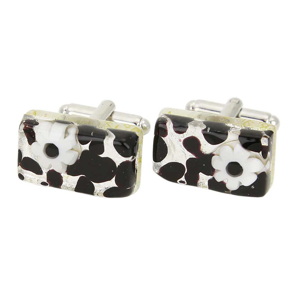 Venetian Classic Rectangular Cufflinks - Dark Purple Silver