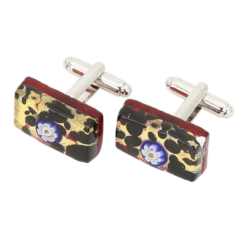 Venetian Classic Rectangular Cufflinks - Gold Millefiori