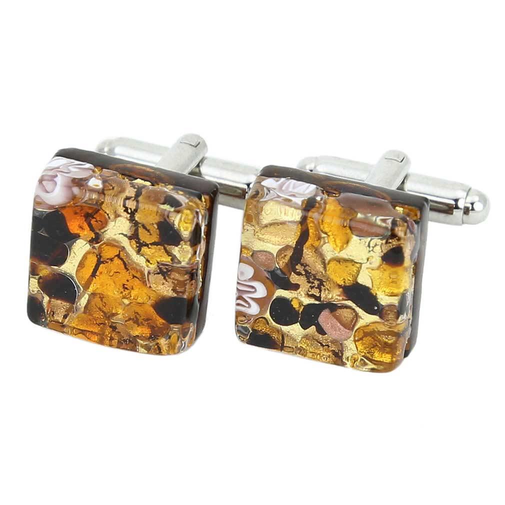 Venetian Classic Square Cufflinks - Topaz Gold