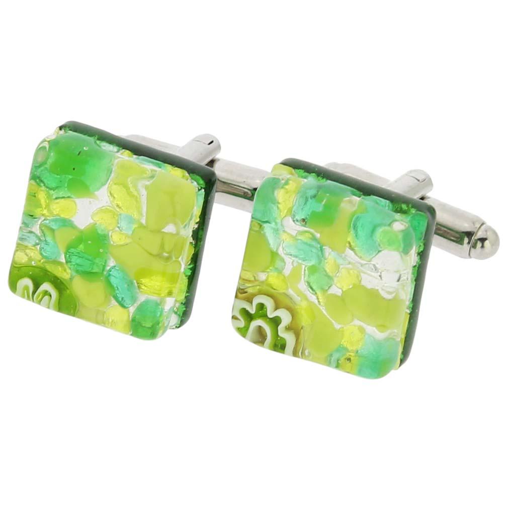 Venetian Classic Square Cufflinks - Green Silver