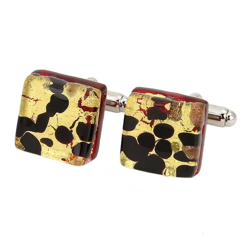 Venetian Classic Square Cufflinks - Gold Millefiori