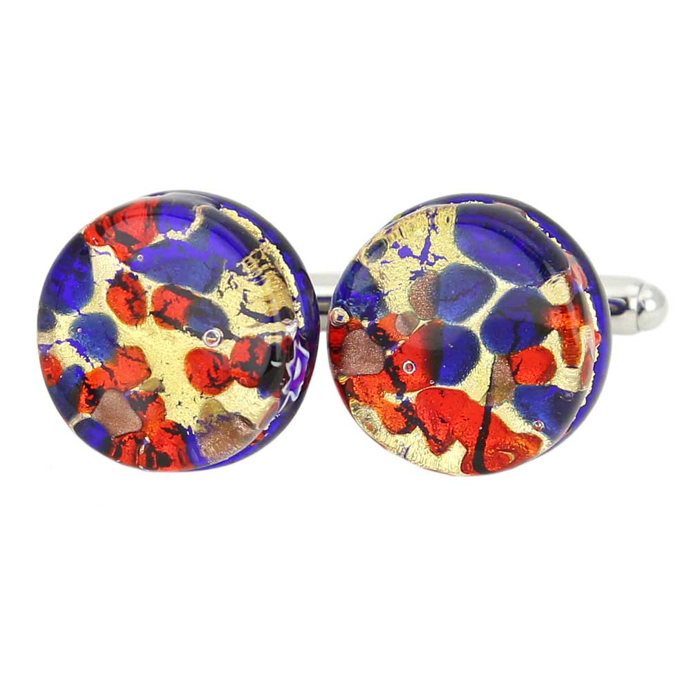 Venetian Classic Round Cufflinks - Blue Red
