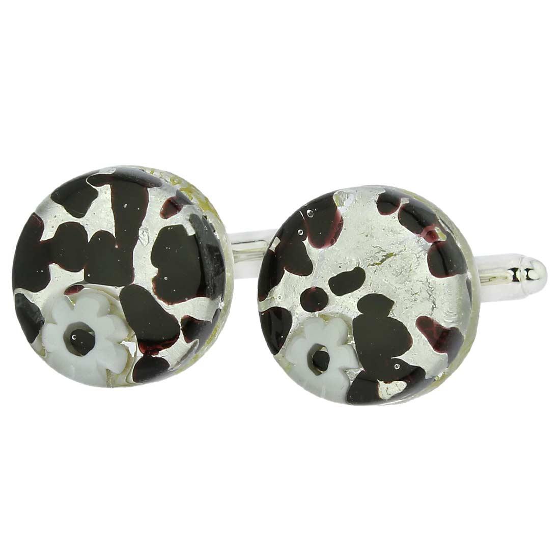 Venetian Classic Cufflinks Round - Dark Purple Silver