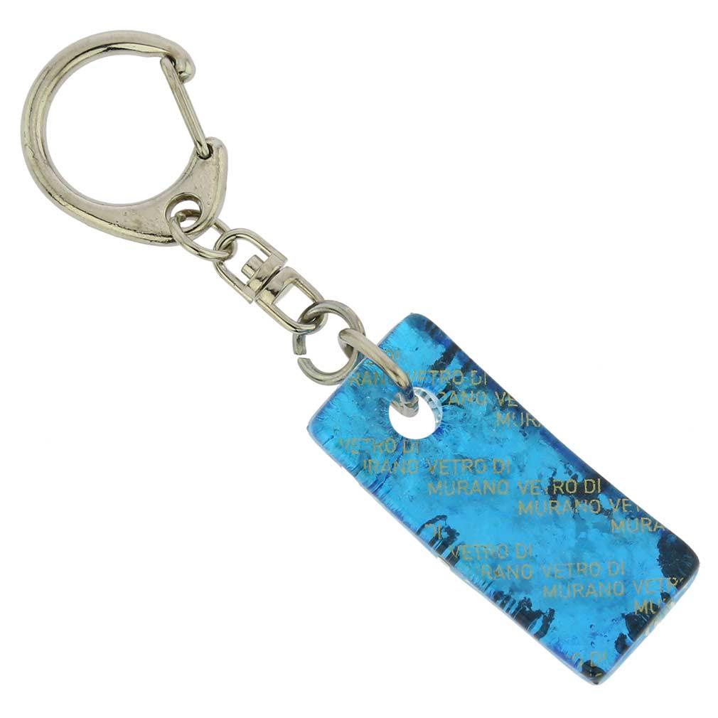 Murano Colors Stick Keychain - Aqua Silver