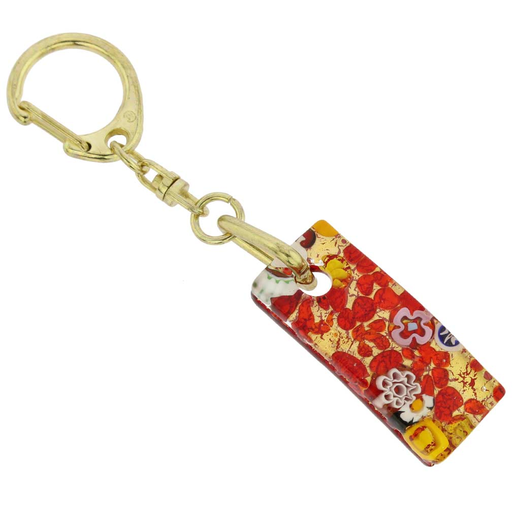 Murano Colors Stick Keychain - Red Gold