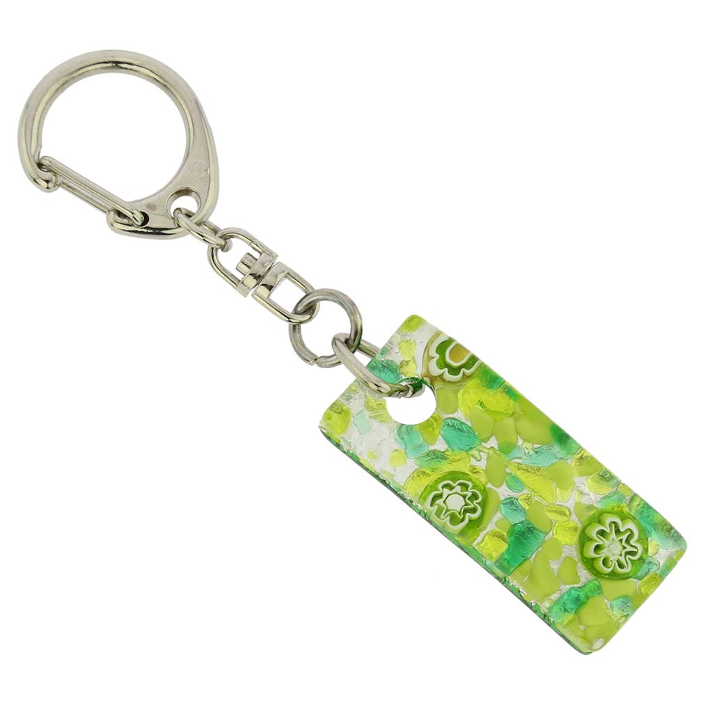 Murano Colors Stick Keychain - Green Silver
