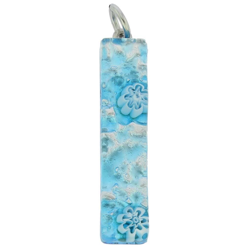 Venetian Reflections Stick Pendant - Aqua Silver