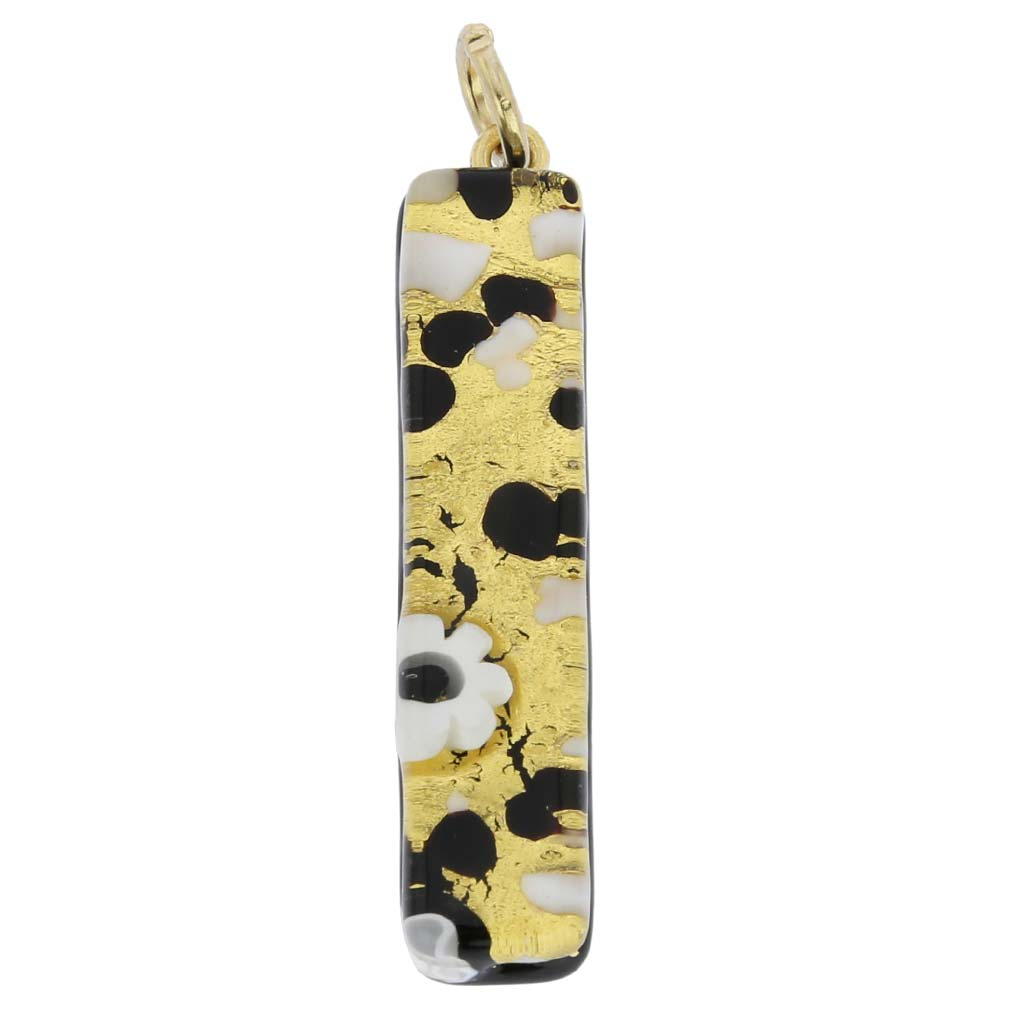 Venetian Reflections Stick Pendant - Black Gold