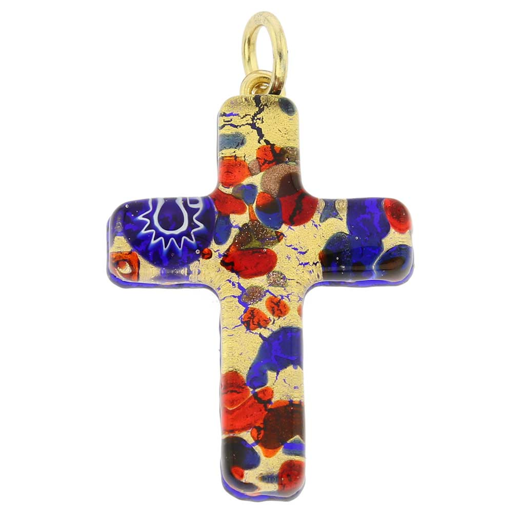 Venetian Reflections Cross Pendant - Blue Red