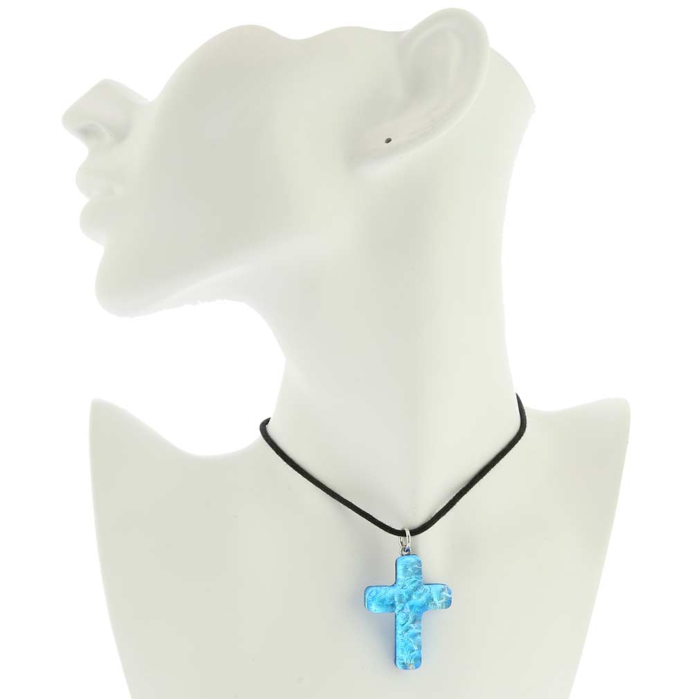 Venetian Reflections Cross Pendant - Aqua Silver