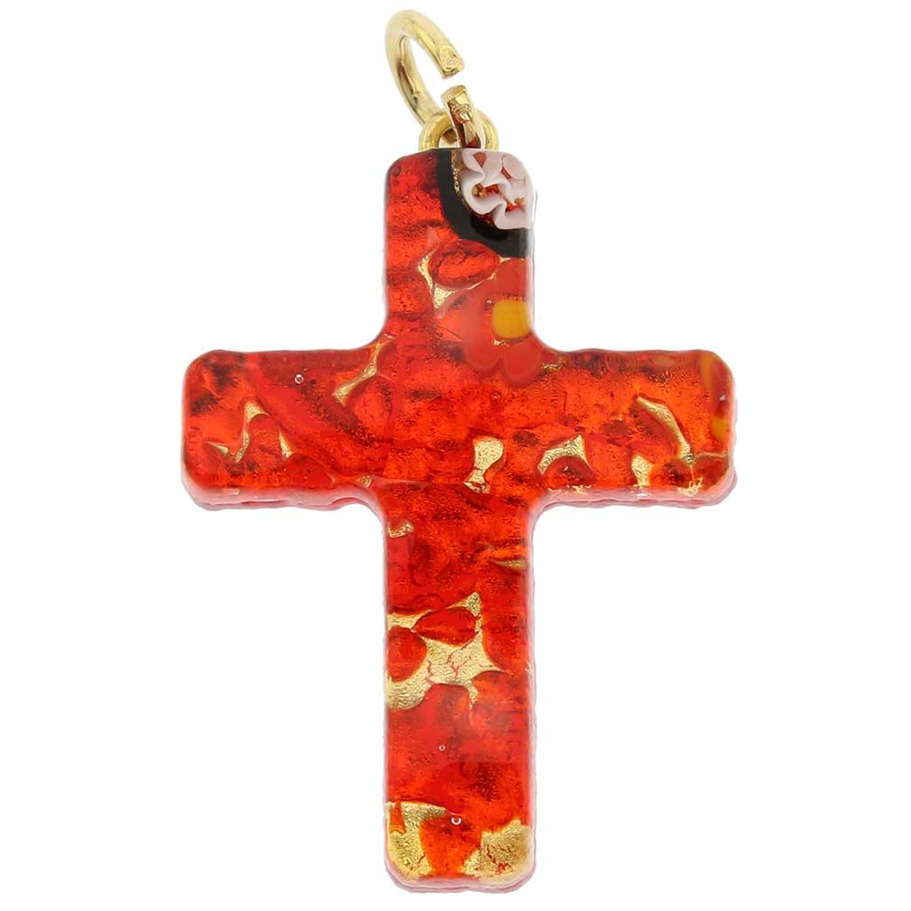 Venetian Reflections Cross Pendant - Red Gold