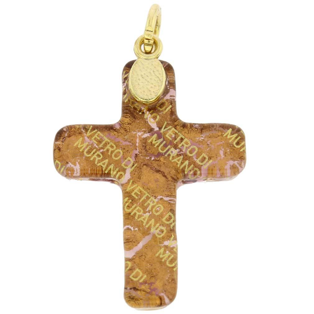 Venetian Reflections Cross Pendant - Purple Gold