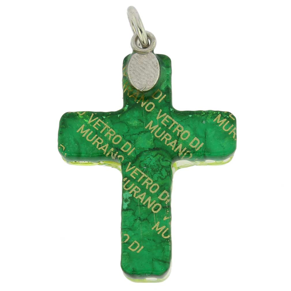 Venetian Reflections Cross Pendant - Green Silver