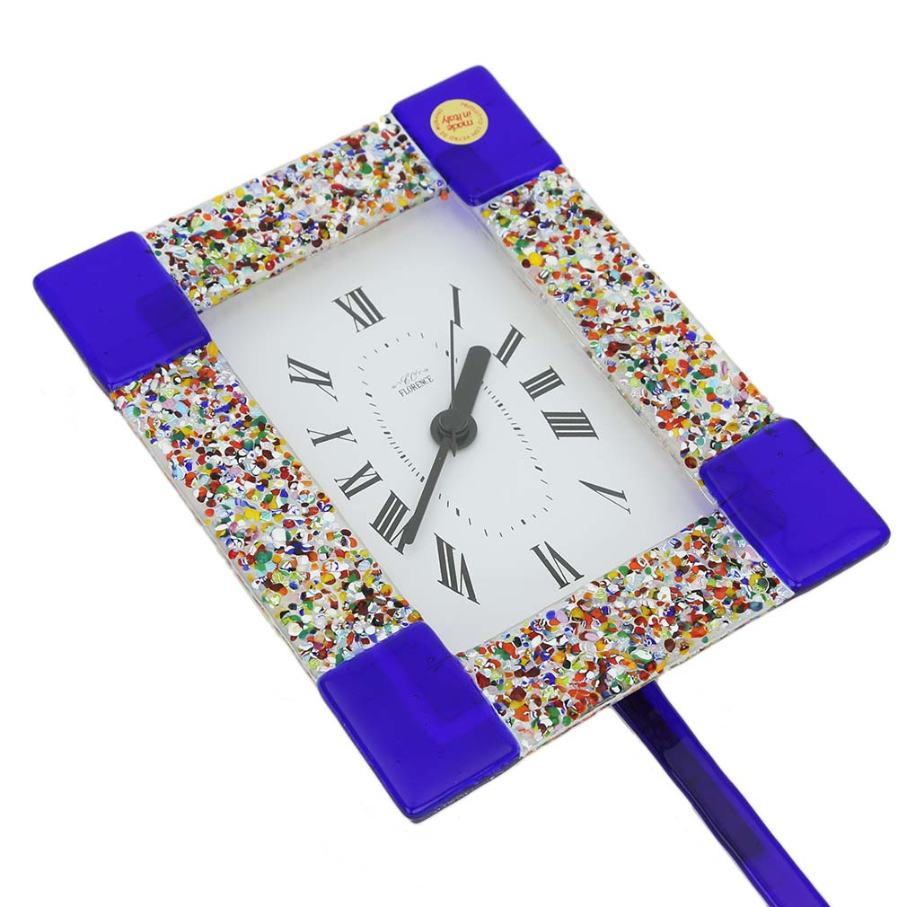 Murano Glass Wall Clock - Klimt Blue