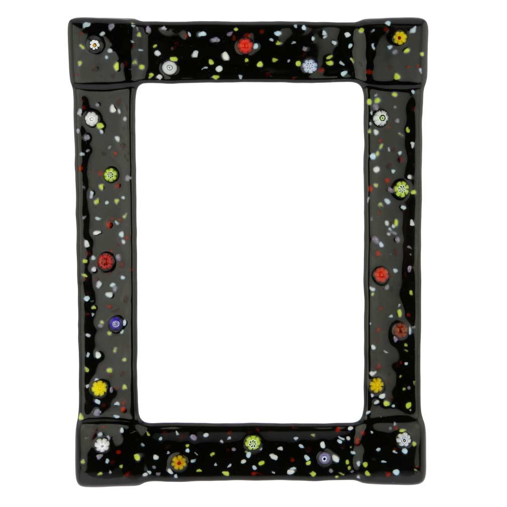 Murano Glass Photo Frame Pantalon 4x6 inch - Black