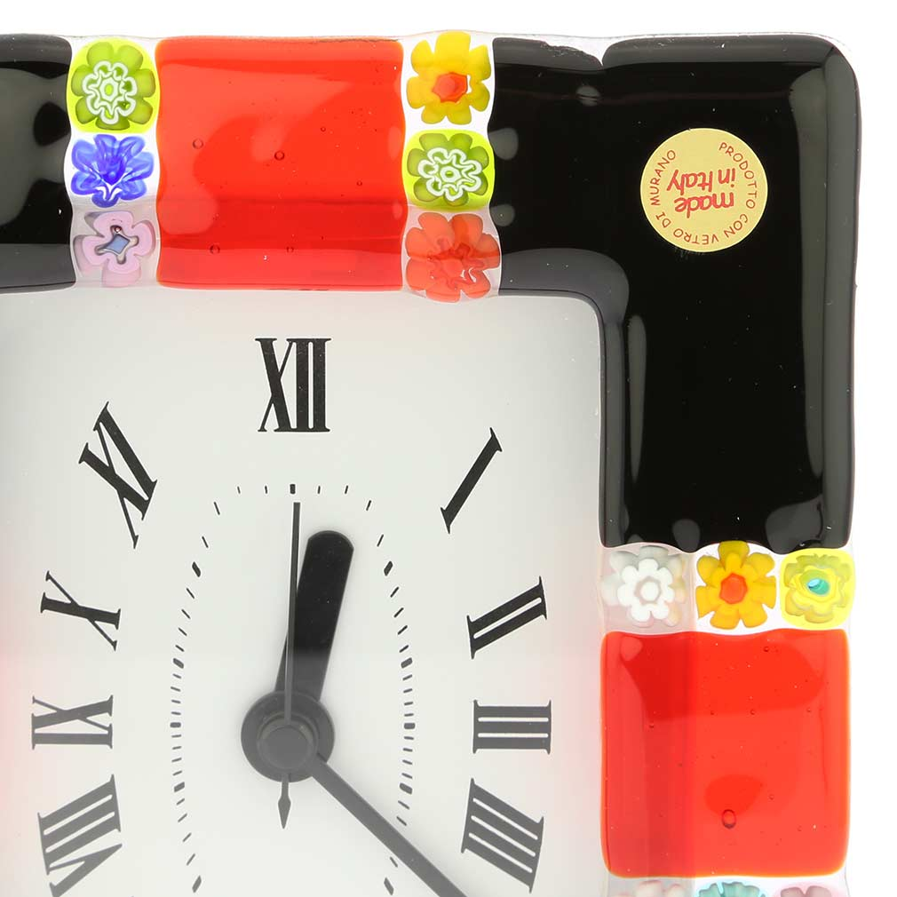 Murano Glass Wall Clock Tiepolo Black