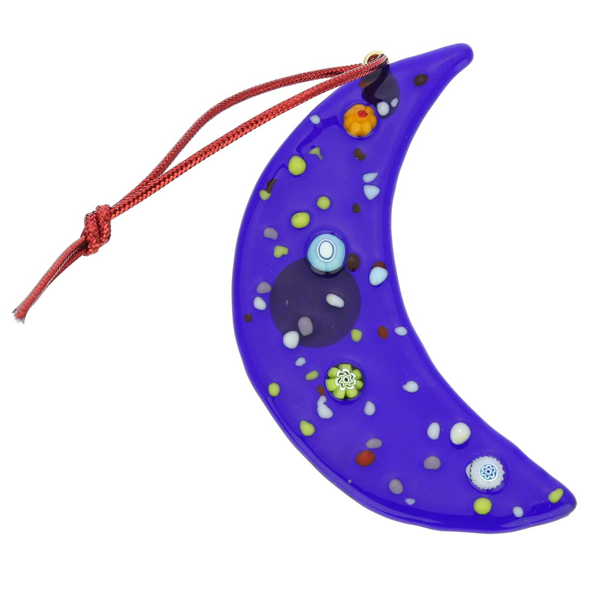 Murano Glass Moon Christmas Ornament - Blue