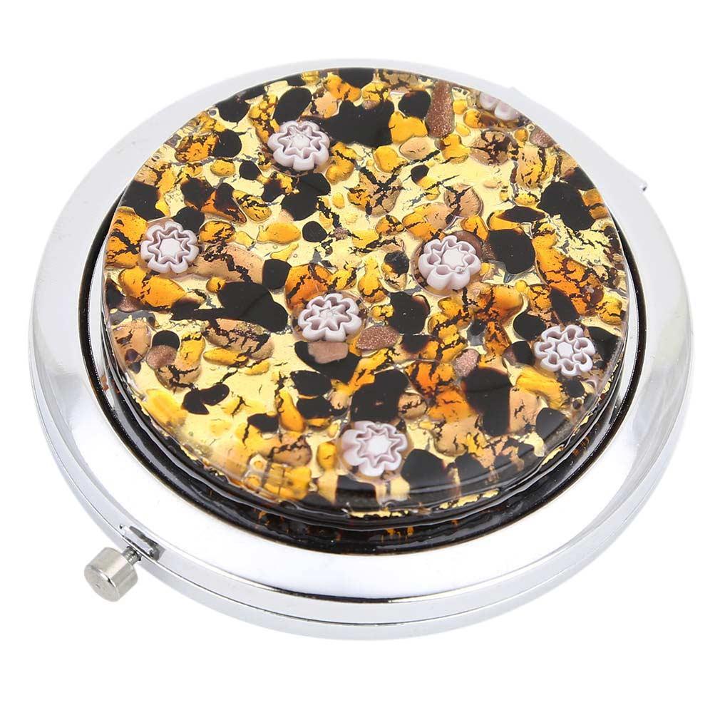 Murano Millefiori Folding Compact Mirror - Topaz Gold