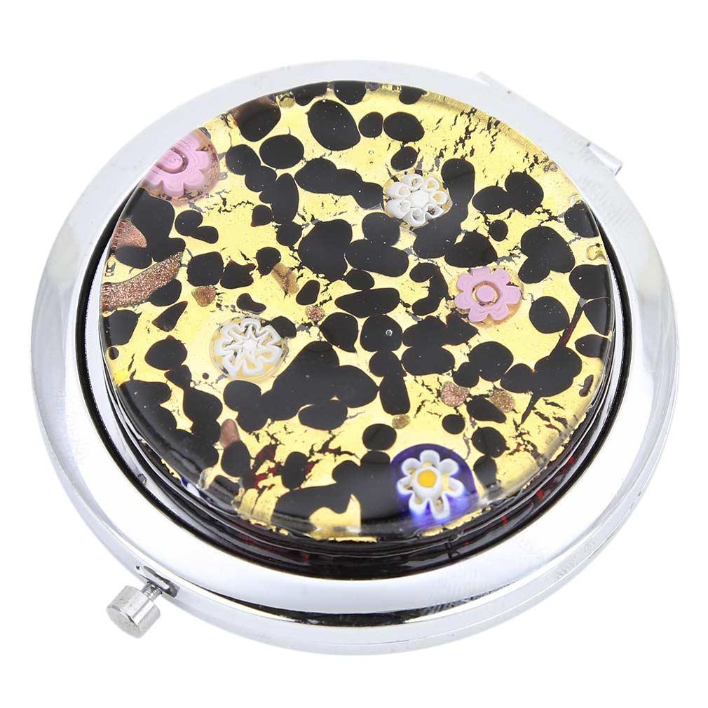 Murano Millefiori Folding Compact Mirror - Gold Millefiori