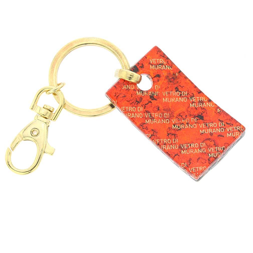 Murano Colors Rectangular Keychain - Gold Millefiori