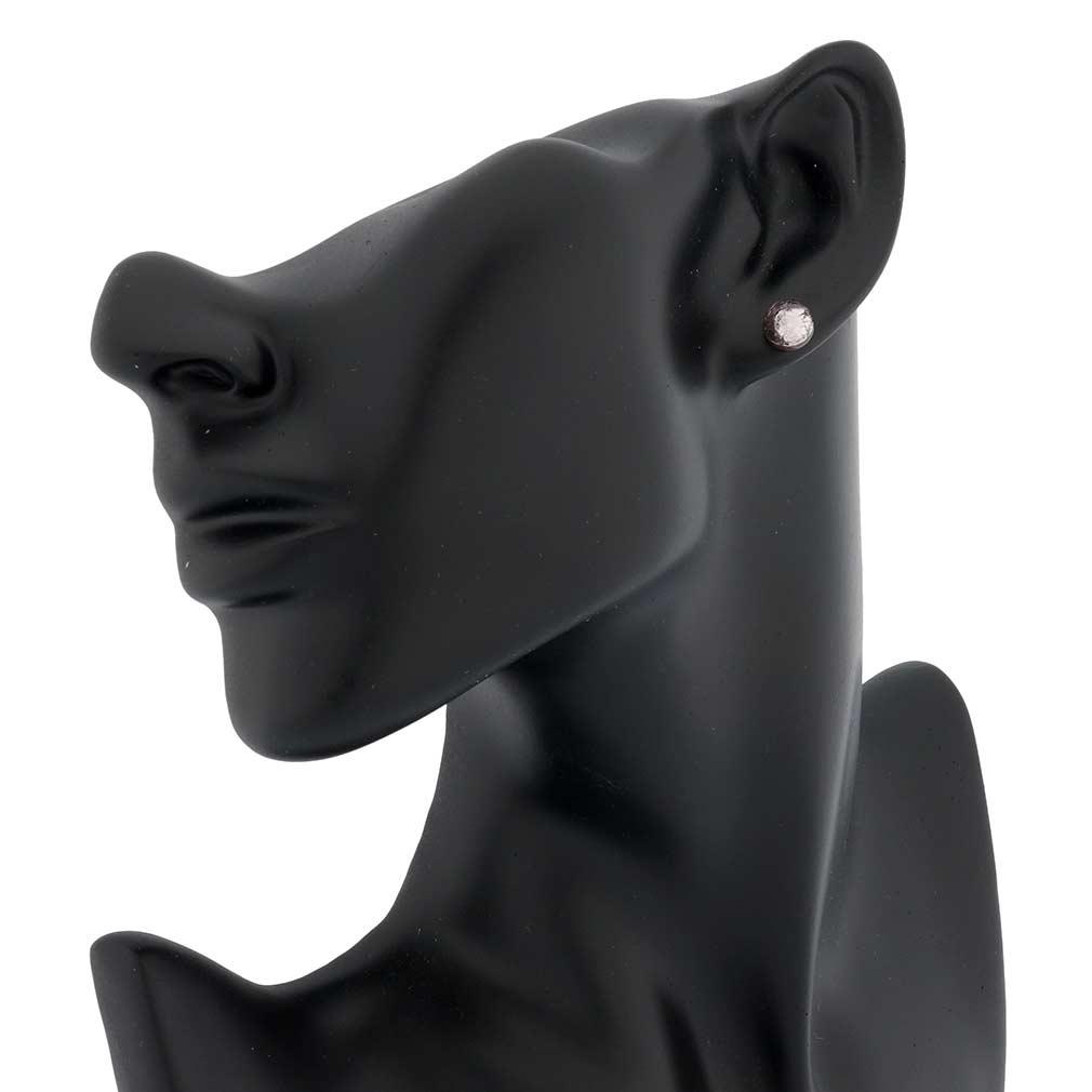 Murano Ball Stud Earrings - Amethyst